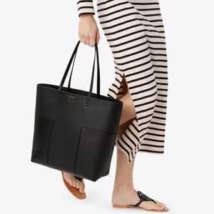 NWT Tory Burch Block-T Tall Tote in Black W/Pouch